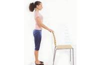 Упражнение от варикоза на стуле - приседание с опопрой