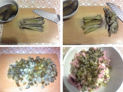 Порежьте кубиками огурцы для оливье