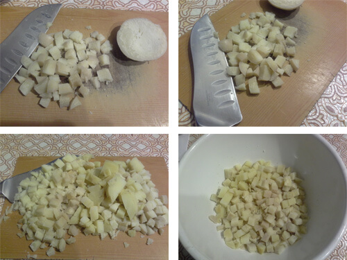 Порежьте кубиками картошку для оливье