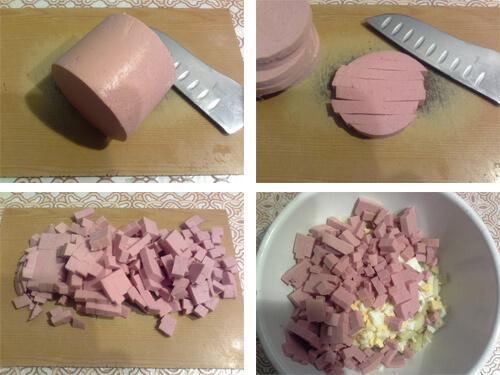 Порежьте кубиками колбасу для оливье