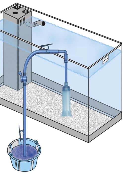 Чистка грунта и слив воды с помощью вакуумной шланги и ведра