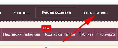 Кликните кнопку Пользователь для заработка на V-like.
